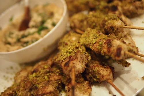 Chicken Skewers - marinated with Lemon & Za'atar covered in pistachio dust